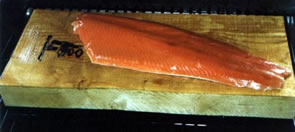 Wild Salmon Sockeye Fillet on a Alder Wood Grilling Slab!