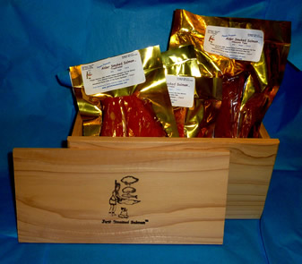 JUST SMOKED SALMON HANDCRAFTED WESTERN RED CEDAR GIFT BOXES