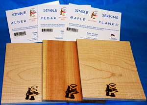 single serving Cedar, Maple. and Alder planks